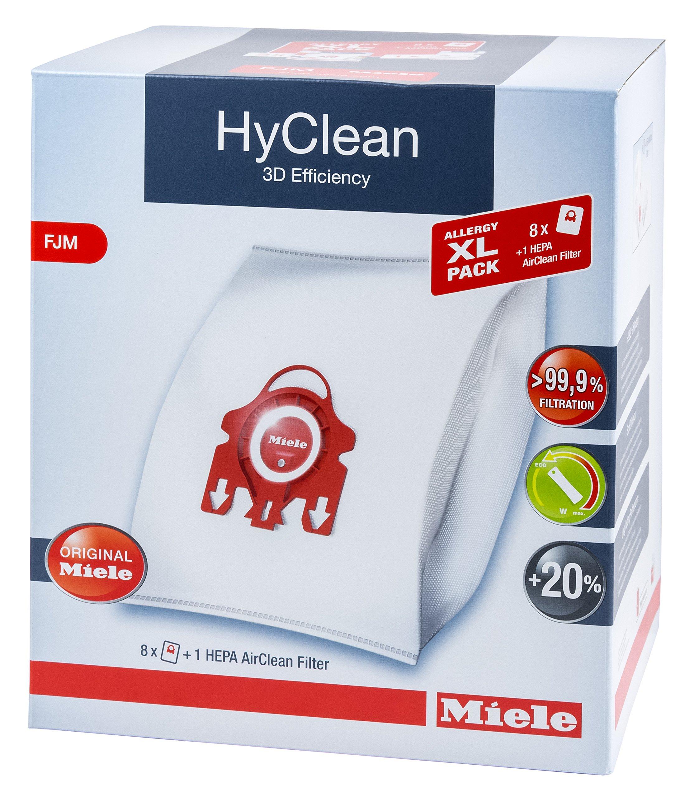 Miele XL Pack - 8X Hyclean 3D FJM Vacuum Bags +1 Hepa Filter SF-HA 50