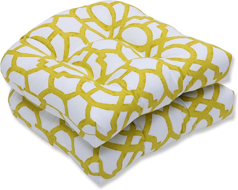 Pillow Perfect Outdoor Indoor Nunu Geo Wasabi Wicker Seat Cushion Set of 2