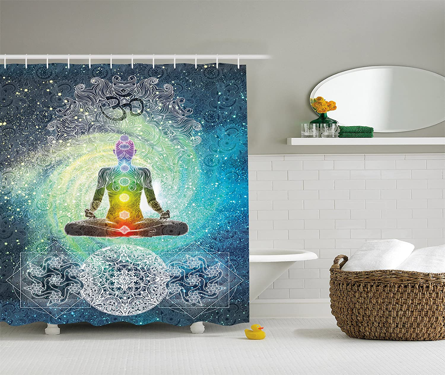 Amazon.com: Mandala Shower Curtain Bohemian Yoga Zen Decor By Ambesonne,  Mandala Design Zen Meditation Hippie Style With Chakra Art Print, Polyester  Fabric ...