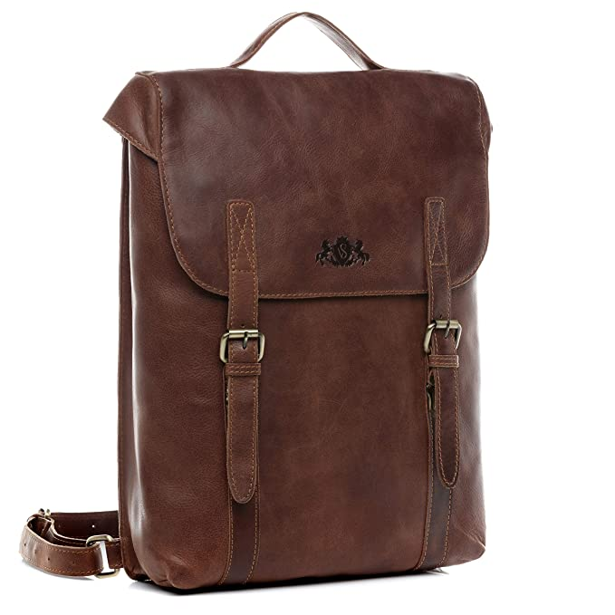 40e40ce0123873 SID & VAIN Rucksack echt Leder Eton groß Backpack Tagesrucksack  Kurierrucksack Fahrradrucksack 15,6 Zoll Laptop Laptopfach Unisex braun:  Amazon.de: Koffer, ...