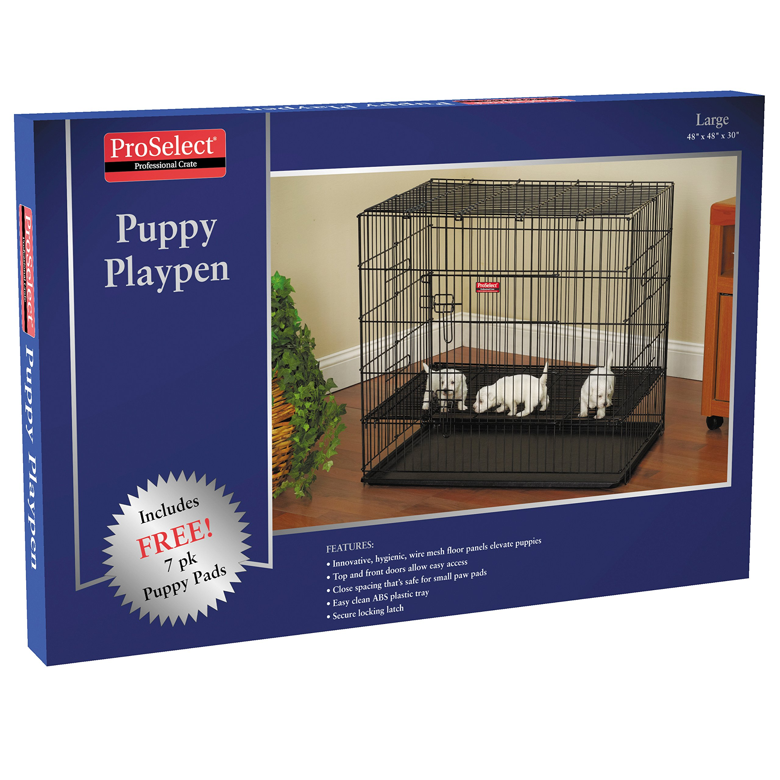 ProSelect Puppy Playpens with Plastic Pan, Black 36''L x 24''W x 30''H; Medium, Black 36''L x 36''W x 30''H; Large, Black 48''L x 48''W x 30''H