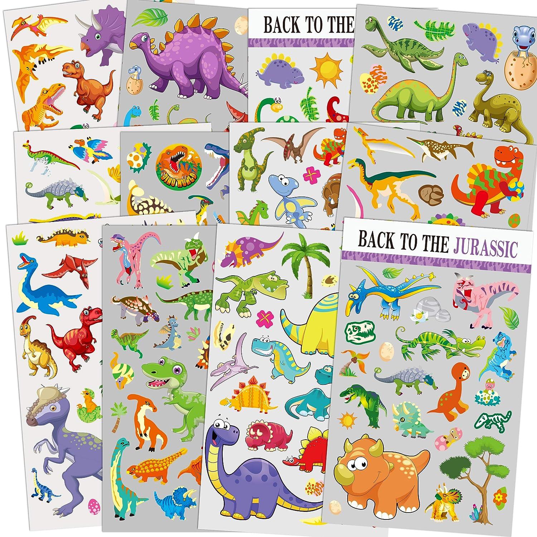 Sinceroduct Pegatinas de Dinosaurio para niños de 12 Hojas, Maestros, Padres, Abuelos, Manualidades para niños, favores de Fiesta, creación de Libros de Recuerdos, Pegatinas de recompensa