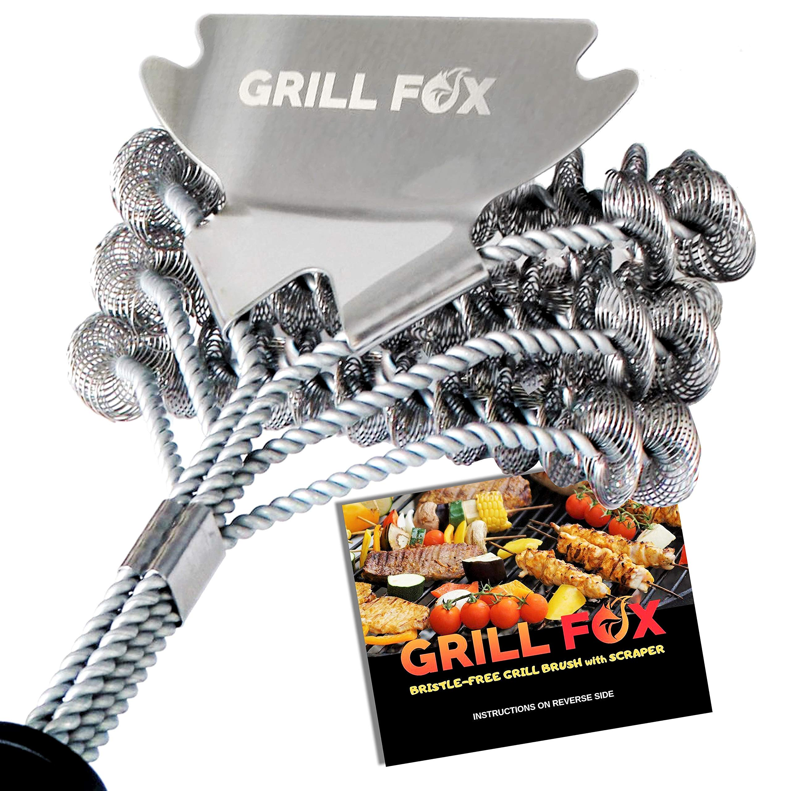 GRILL FOX Grill Brush Bristle Free - Safe BBQ Cleaner with Scraper - Durable 18'' Stainless Steel Scrubber for Cleaning Gas and Charcoal Barbecue Grates and Grills - Grilling Accessories Tool Gift by GRILL FOX