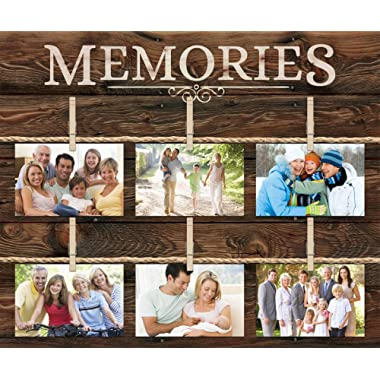 Memories 6 Photo Rustic 18 x 21 Wall Sign Picture Frame Collage with Clothespins