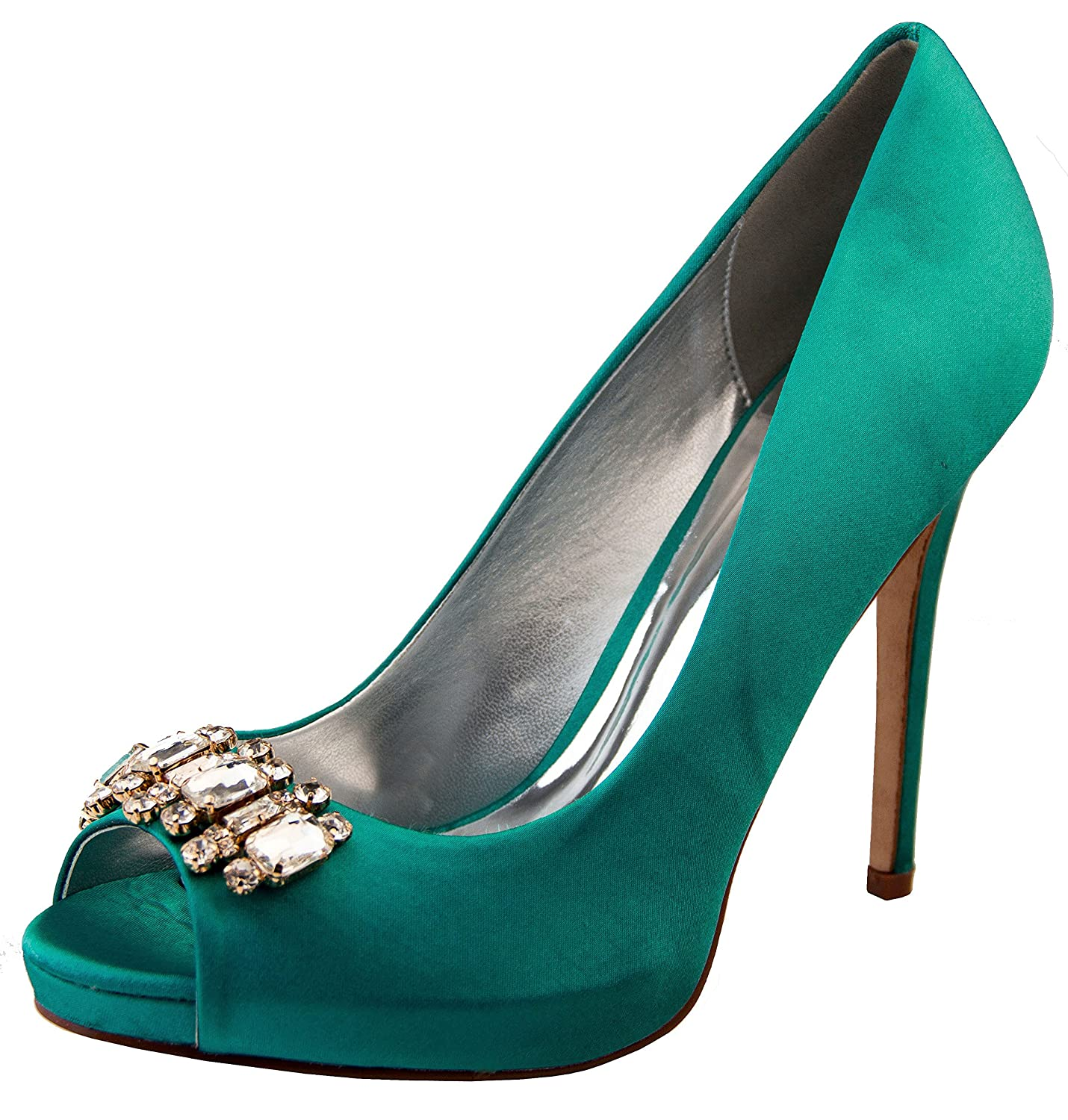 90a01b1d433 Footwear Studio Womens Sabatine Teal Satin Diamante Cluster Bridal ...