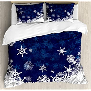 Lunarable Snowflake Duvet Cover Set King Size Winter Theme Christmas Illustration Cold Weather Season Inspired Celebration, Decorative 3 Piece Bedding Set 2 Pillow Shams, Navy Blue White