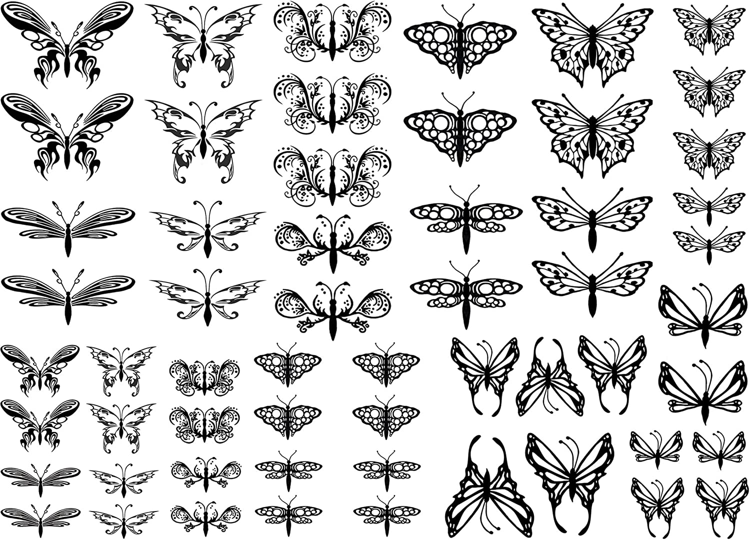 Butterflies /& Dragonflies 1//2 to 1-1//4 Black 16CC563 Fused Glass Decals