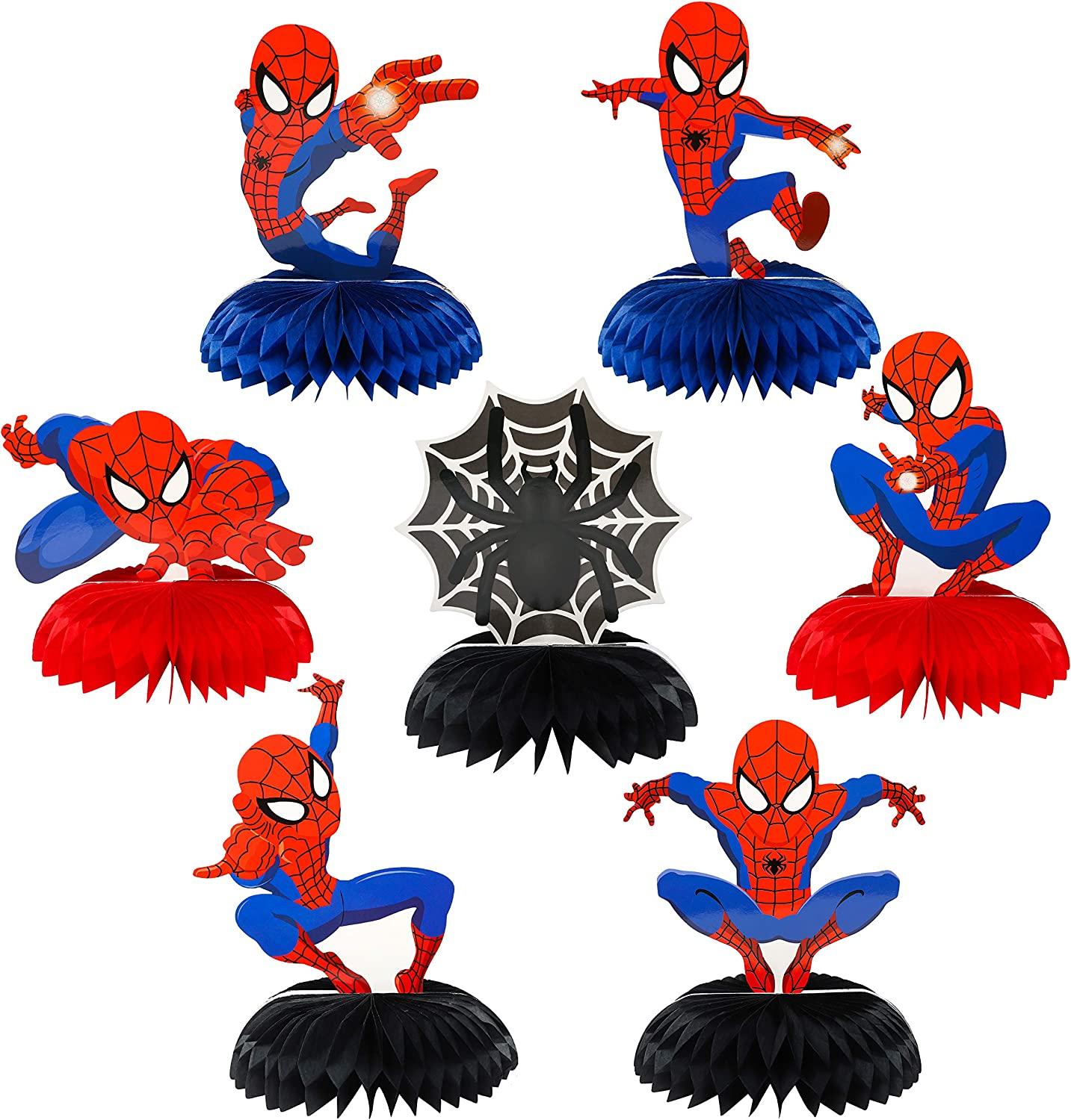 PANTIDE 7Pcs Spiderman Honeycomb Centerpieces Table Topper, Double-Sided Spiderman Table Decor, Superhero Themed Party Favors Decorations Photo Booth Props for Kids Birthday Party Supplies