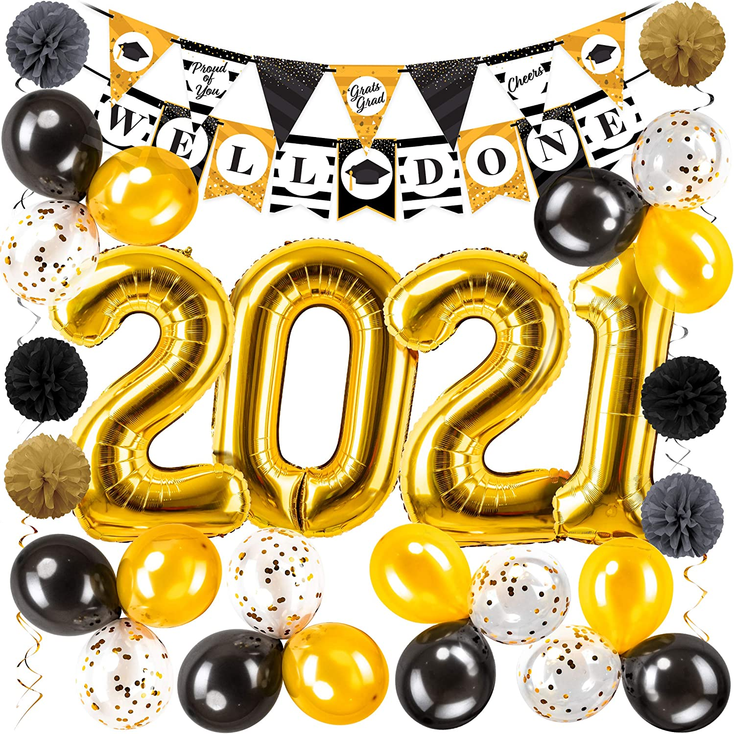 Graduation Decorations 2021 Kit - 45pc - Black & Gold Graduation Party Supplies 2021 Balloons, Props, Banner, PomPoms, Swirls Decor - Full 2021 Grad Party Value Pack for the Graduate