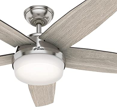 Hunter Fan 52 Inch Contemporary Brushed Nickel Indoor Ceiling Fan With Light Kit And Remote Control Renewed Amazon Com