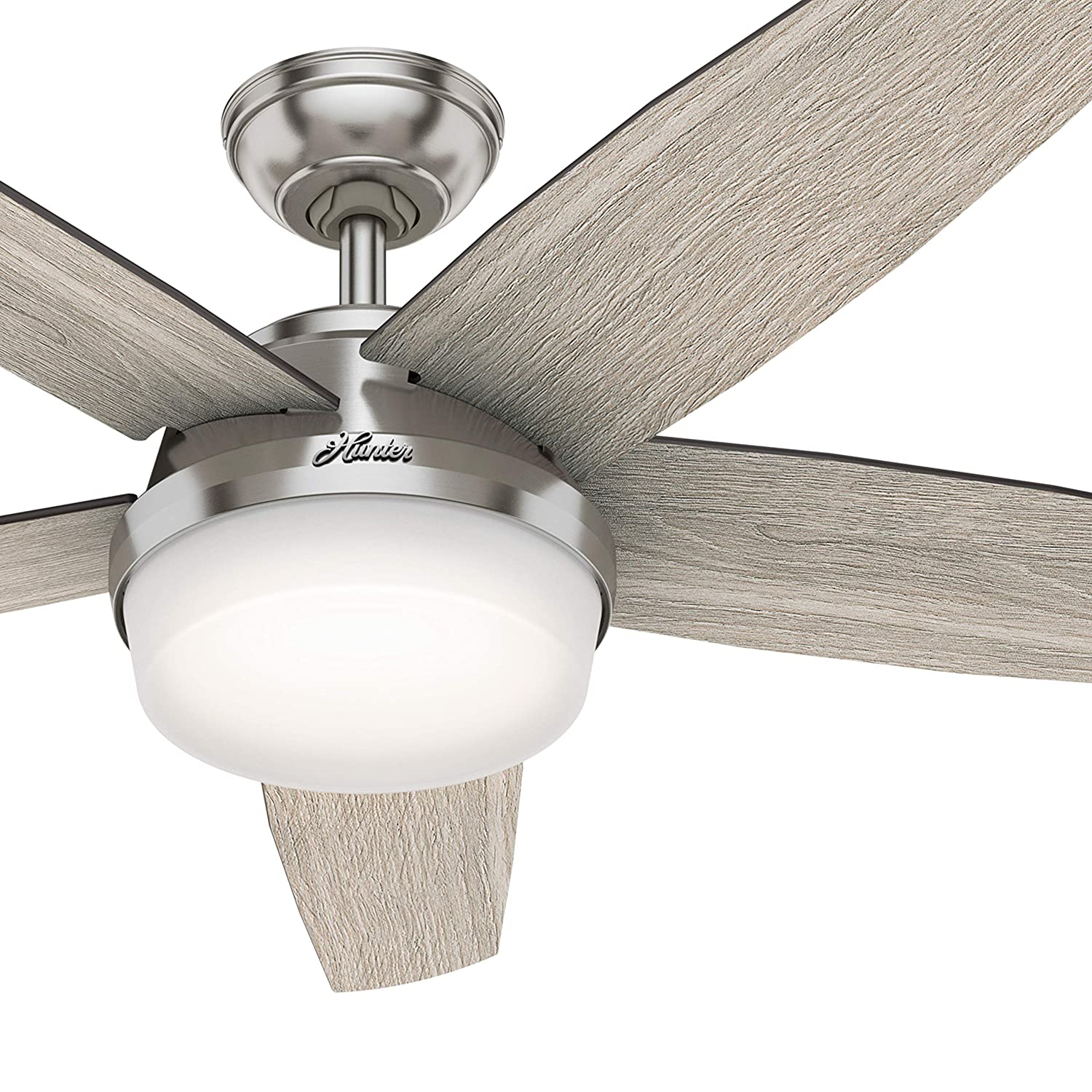 Hunter Fan 52 inch Contemporary Brushed Nickel Indoor Ceiling Fan with Light Kit and Remote Control Renewed