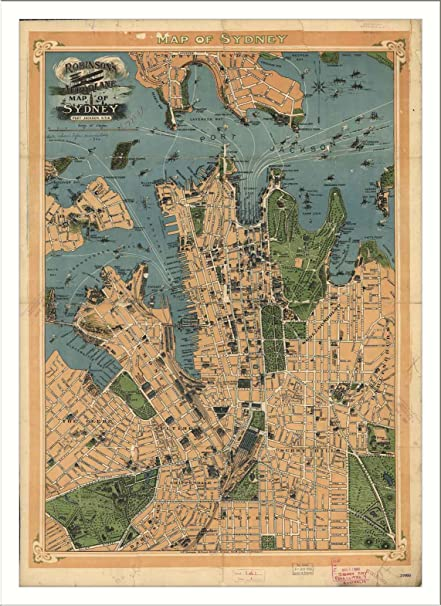 Free Map Of Australia To Print.Amazon Com Historic Sydney Australia C 1922 L Panoramic Map