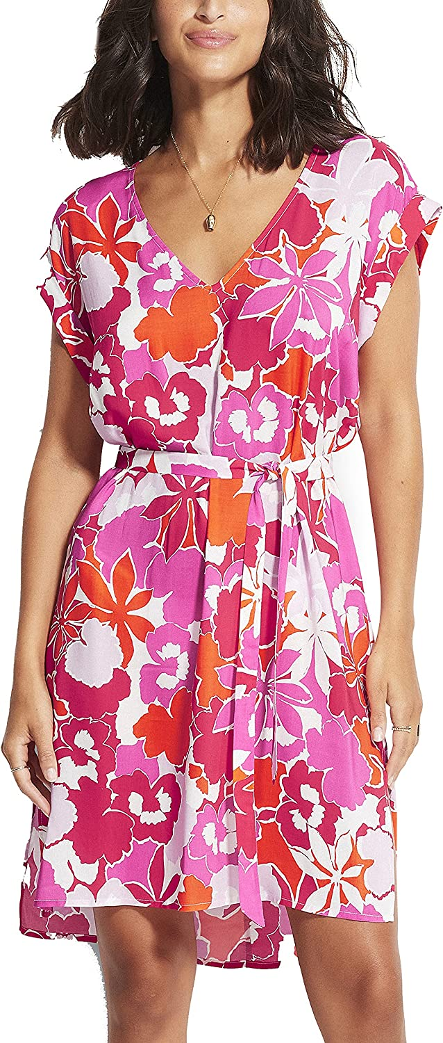 Seafolly Women's Printed Swimwear Cover Up with Drawstring Branded goods Max 59% OFF Dress