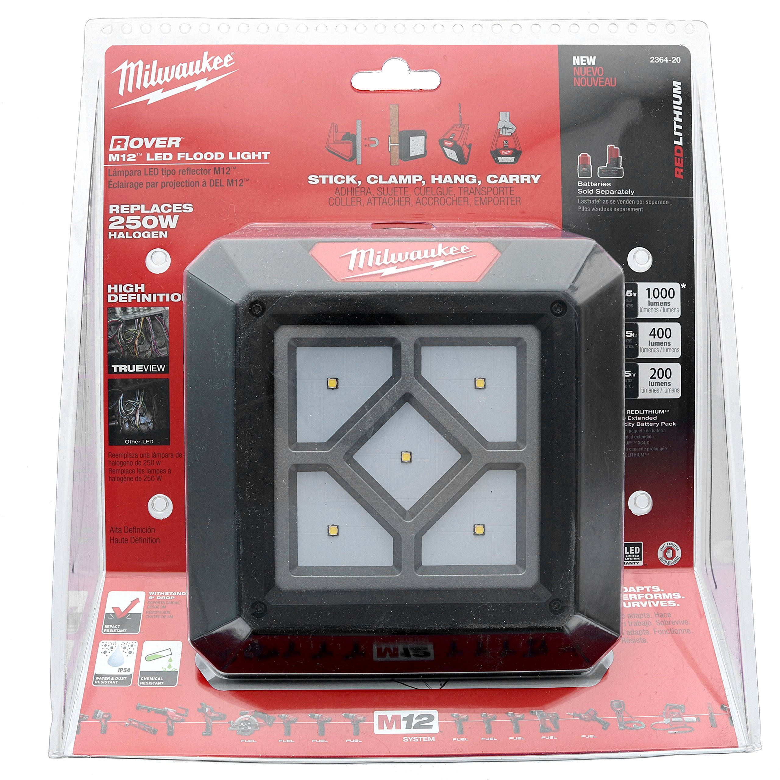 Milwaukee 2364-20 M12 Rover 12 Volt Lithium Ion 1,000 Lumen 250W Replacement Compact Flood Light