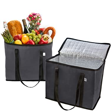 2 Pack Reusable Grocery Shopping Bag by Ks Country - Insulated Tote for Hot or Cold Food - Sturdy Dual Zipper and Large Reinforced Handles for Extra Strength - Collapsible and Stands Upright – Gray