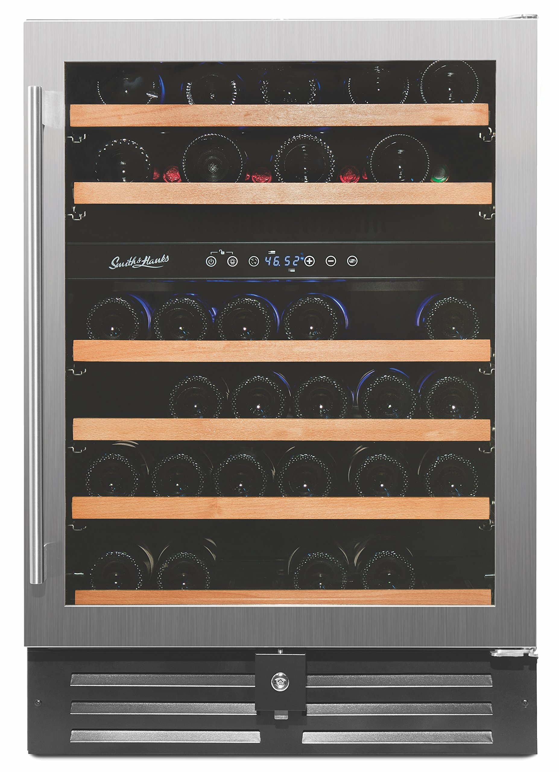 Smith & Hanks 46 Bottle Dual Zone Wine Refrigerator, Stainless Steel Door, Built-In or Free Standing Professional Series