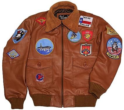 a5f7c2c8696 Men Top Gun Navy Air Force Flight Aviator Bomber Fur Collar Brown Leather  Jacket (XX
