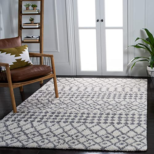 Safavieh Berber Fringe Shag Collection BFG540A-1115 Moroccan 1.2-inch Thick Area Rug 11' x 15' Cream/Dark Grey