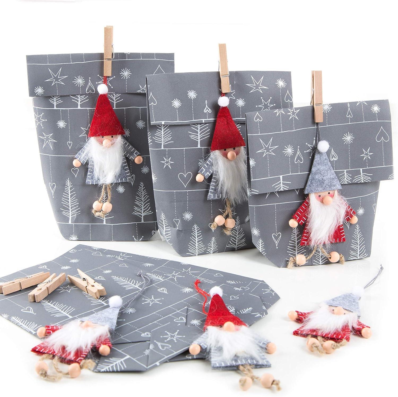 Logbuch-Verlag 6 paquetes de regalo para amigo invisible, color gris y blanco, con colgante de fieltro, bolsa de Papá Noel