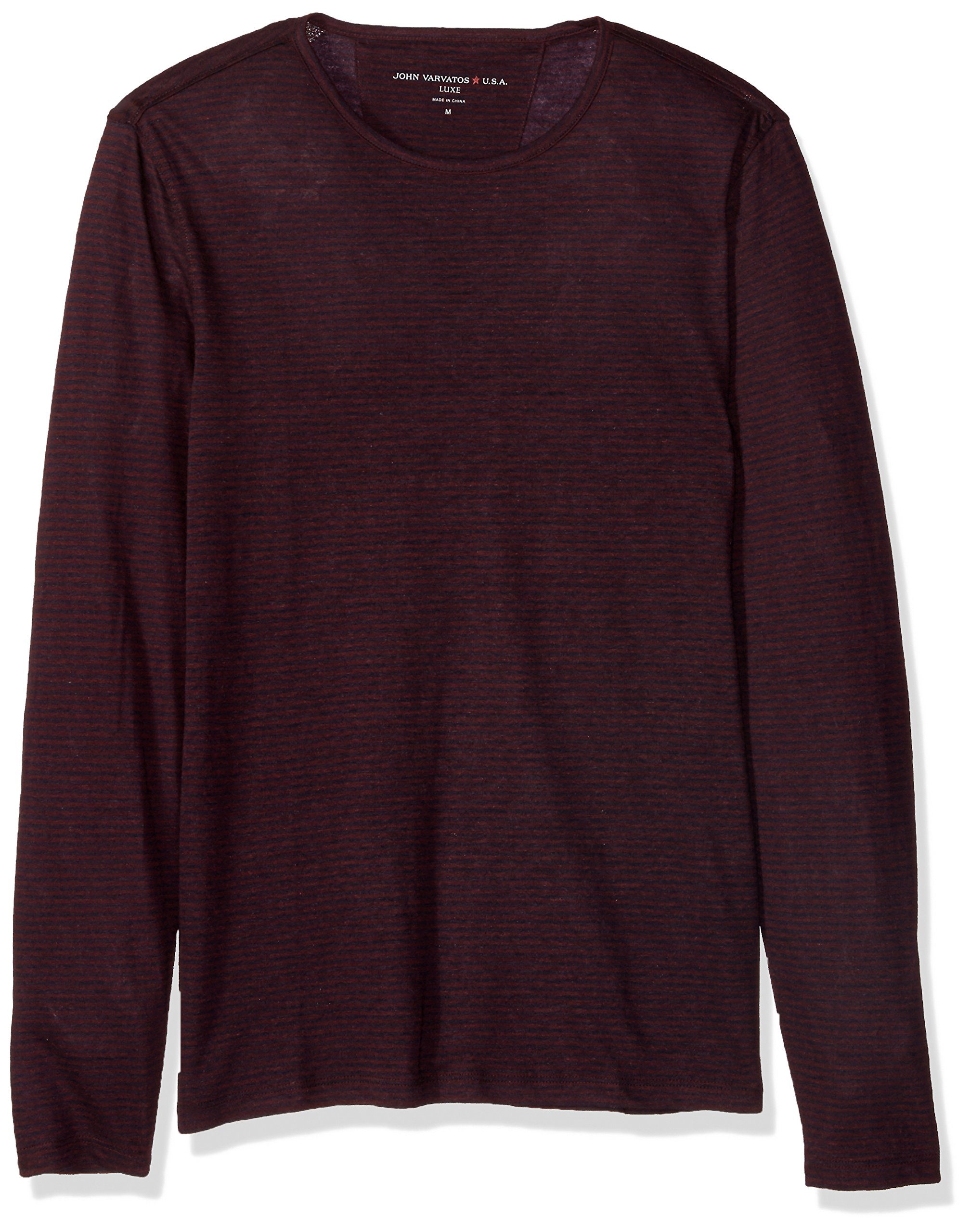 John Varvatos Men's Long Sleeved Crewneck BKZ6B, Garnet, Small