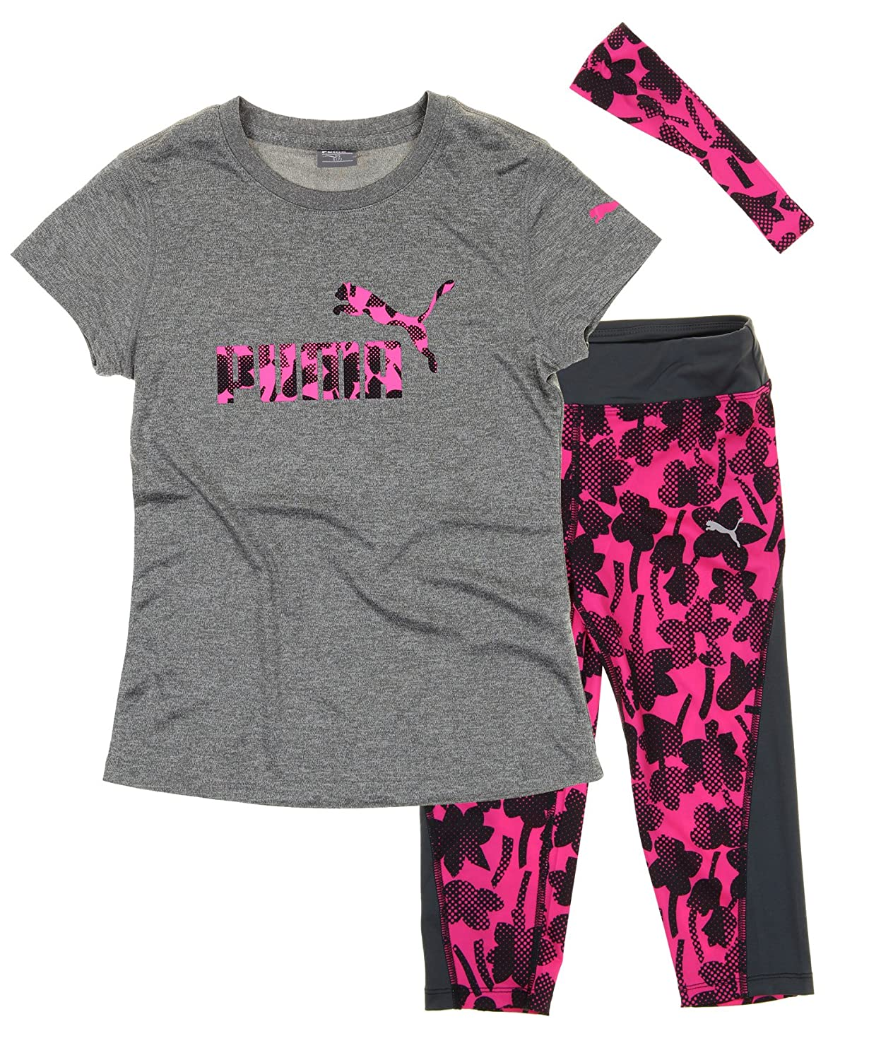 Puma Girls T-shirt, Capri Pant and Headband Matching Set Heather Grey) 00_666BKU_PU