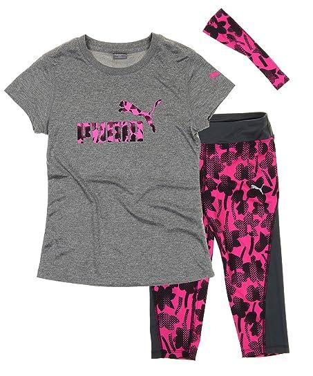 b1b039ff3b018b Amazon.com: Puma Girls T-shirt, Capri Pant and Headband Matching Set ...