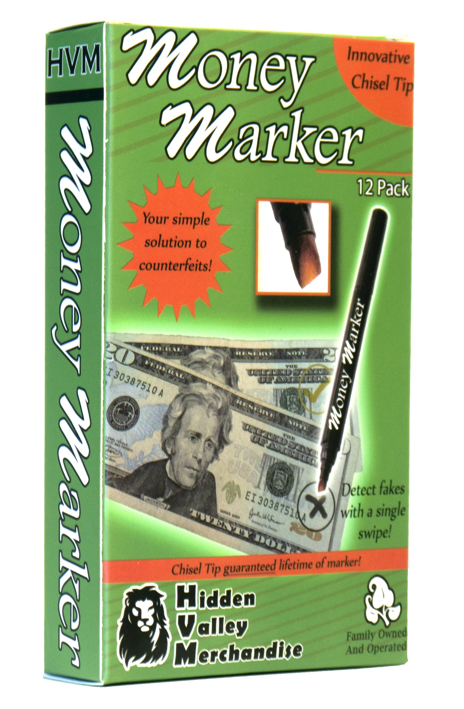 Money Marker (12 Pens) --- Counterfeit Bill Detector Pen with Upgraded Chisel Tip - Detects Fake Counterfit Bills, Universal Currency Detectors Pack