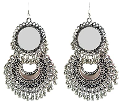 f04d852e8 Buy BEWYSH Fancy Oxidized Silver Afghani Tribal Mirror Earrings for Girls  and Women Online at Low Prices in India | Amazon Jewellery Store - Amazon.in