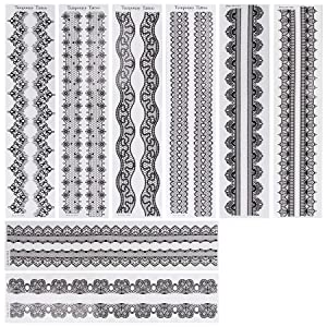 BMC 8 Sheet Set Black Color Temporary Body Art Tattoos - Lace Bands