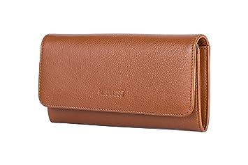 0658ece917c1e NL NEULEISS Neuleiss Damen Geldbörse Braun - Hochwertiges Weiches Echt-Leder  Portemonnaie Portmonee - groß