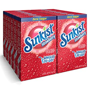 Sunkist Soda Singles To Go Drink Mix (12 Boxes with 6 Packets Each/72 Total Servings/Non-Carbonated and Sugar-Free), Strawberry, 6.36 Oz