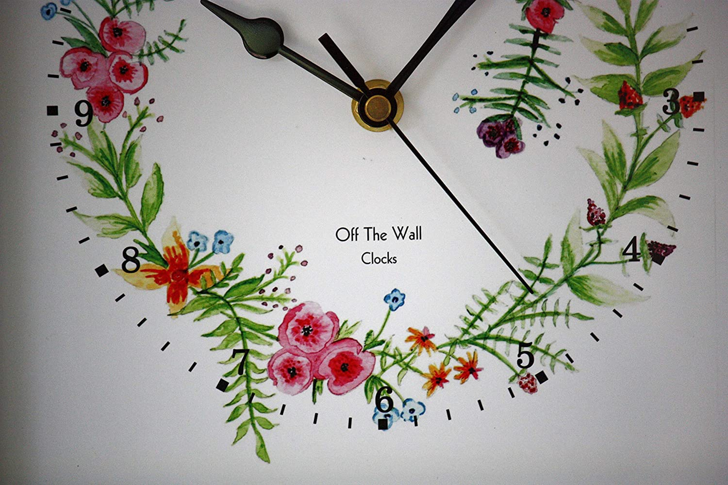 New 25cm Modern Floral Wall Clock White Country Kitchen Flowers Farmhouse Gift Handmade Products Home Kitchen