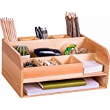 Clear Pine Wood Desk Organizer with File Organizer for Office Supplies Storage & Desk Accessories. Perfect Office Decor…