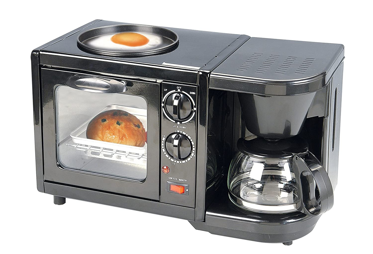 Coffee pot, oven and hotplate combo. Small and compact