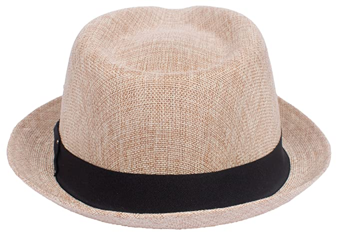 e5233a344bd38 DRY77 Porkpie Pork Pie Fedora Hat Trilby Cuban Cap Linen Cotton Up Short  Brim at Amazon Men s Clothing store