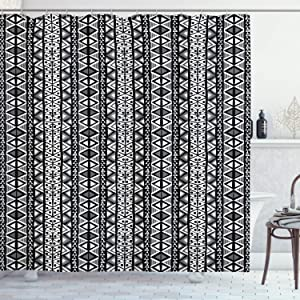 "Ambesonne Retro Shower Curtain, Boho Pattern in Black and White with Western Native Effects Folk Design, Cloth Fabric Bathroom Decor Set with Hooks, 70"" Long, Black Grey"