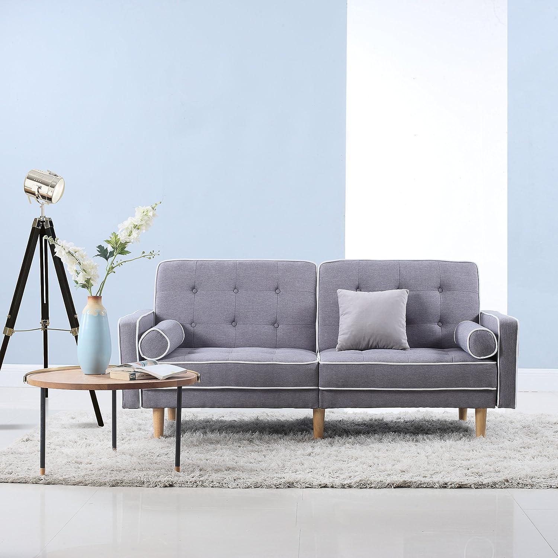 amazoncom mid century modern splitback tufted linen fabric futon  - amazoncom mid century modern splitback tufted linen fabric futon (lightgrey) kitchen  dining