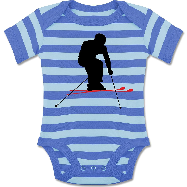 Sport Baby - Skifahren Urlaub - gestreifter kurzarm Baby-Strampler / Body für Jungen und Mädchen