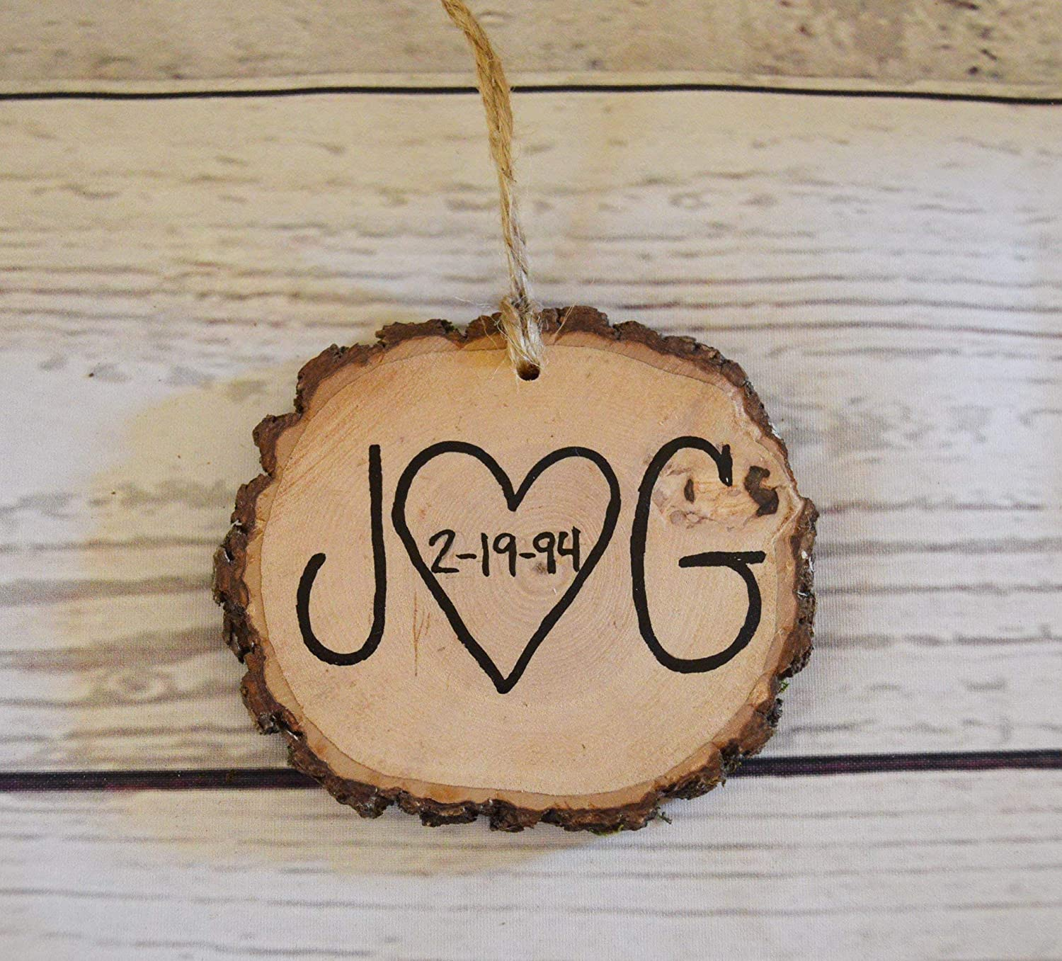 Christmas Ornament Personalized Couple Initials Anniversary Gift Wedding Favors Handmade Amazon Com