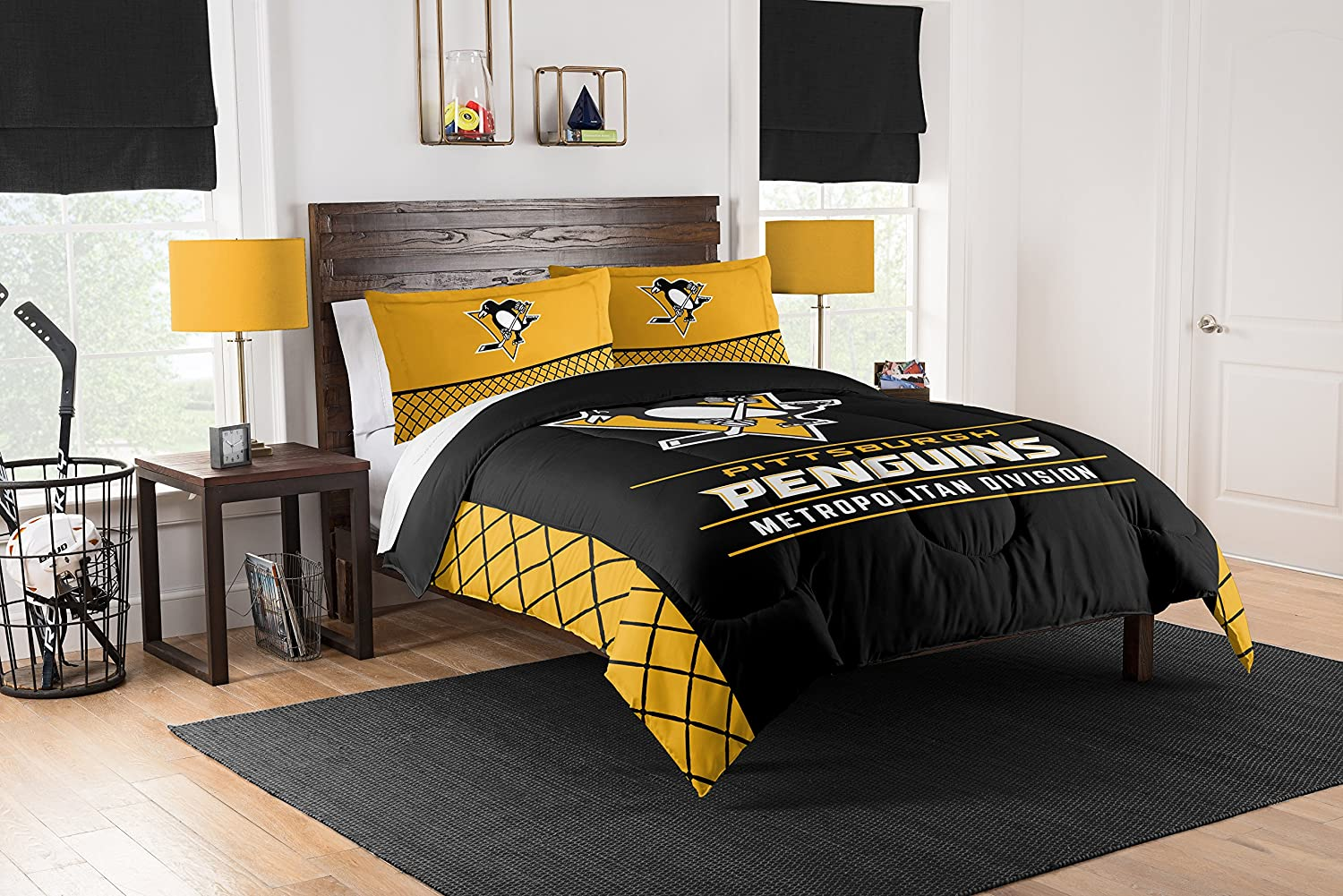 Full Size Pittsburgh Penguins Bed Bag Comforter Set NHL Bedding Fan Cover Pillow