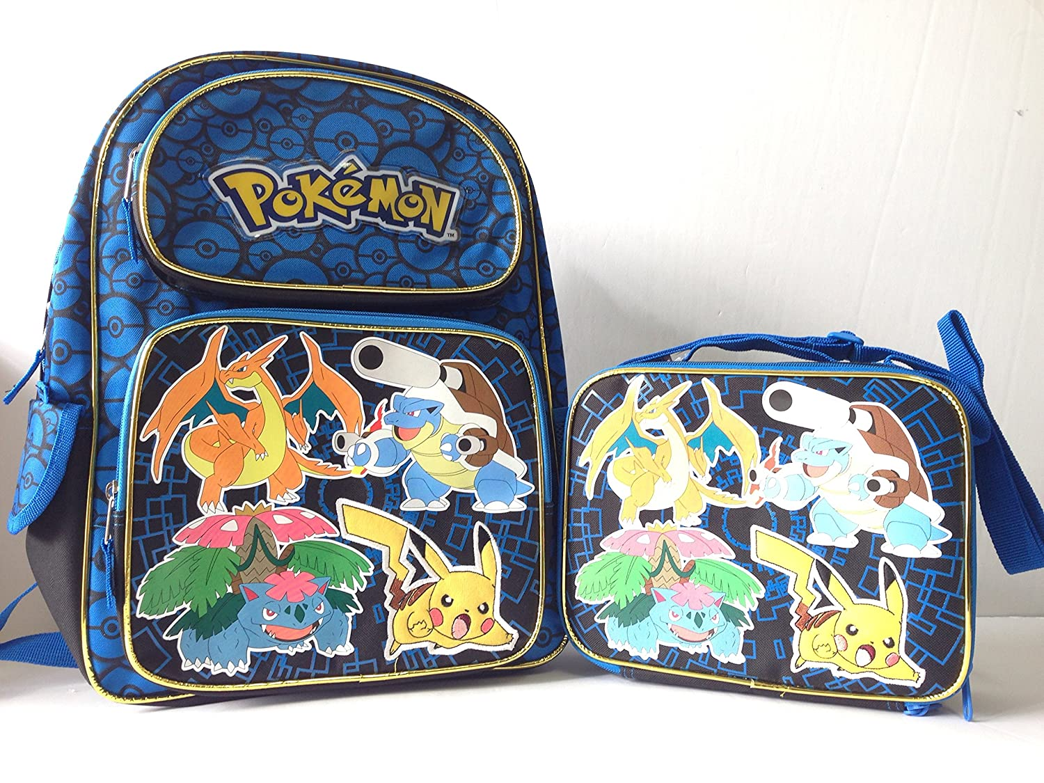 """Pokemon Pikachu 16"""" Full Size School Backpack With Lunch Bag Set on sale"""