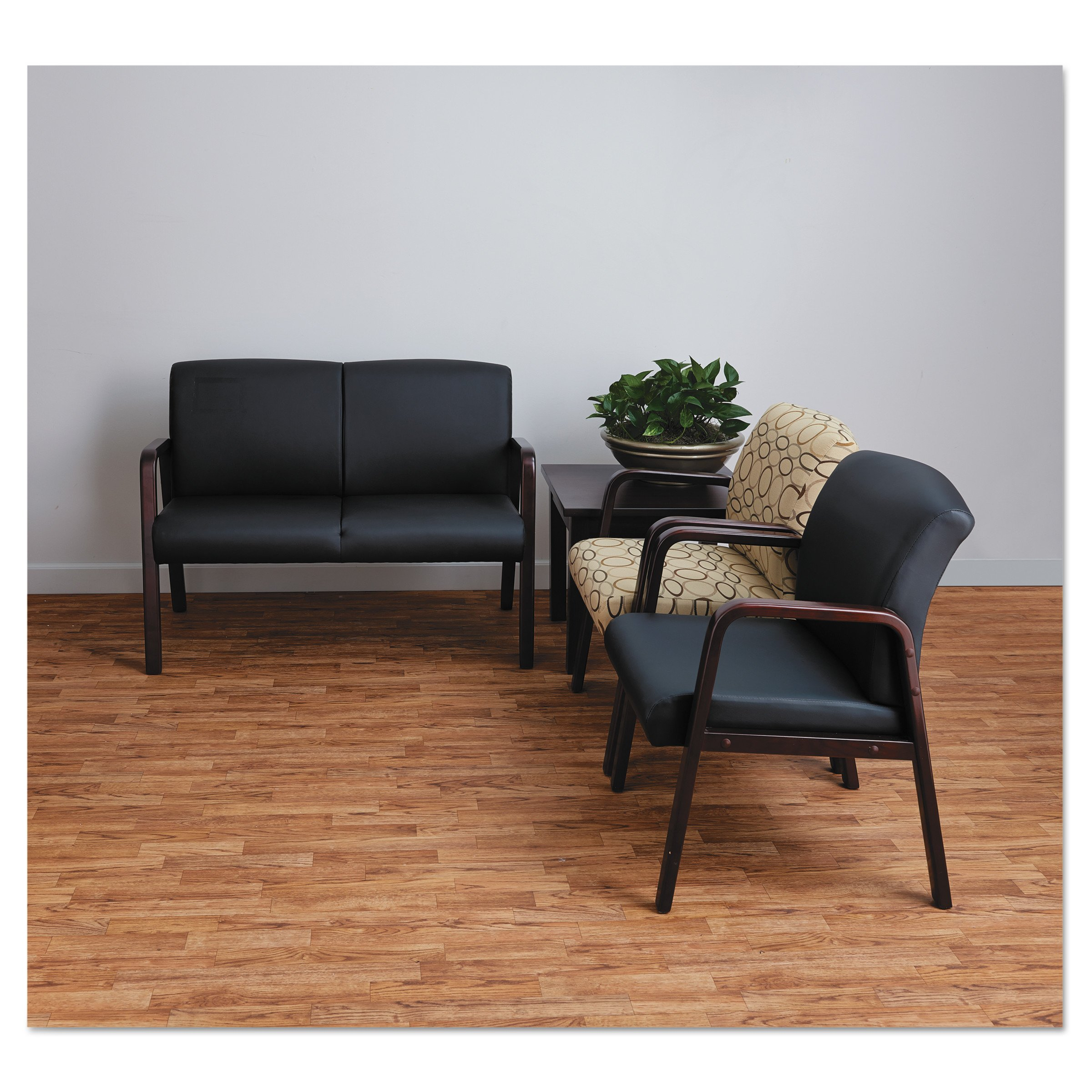 Alera ALERL4319M Reception Lounge Series Guest Chair, Mahogany/Black Leather by Alera (Image #5)