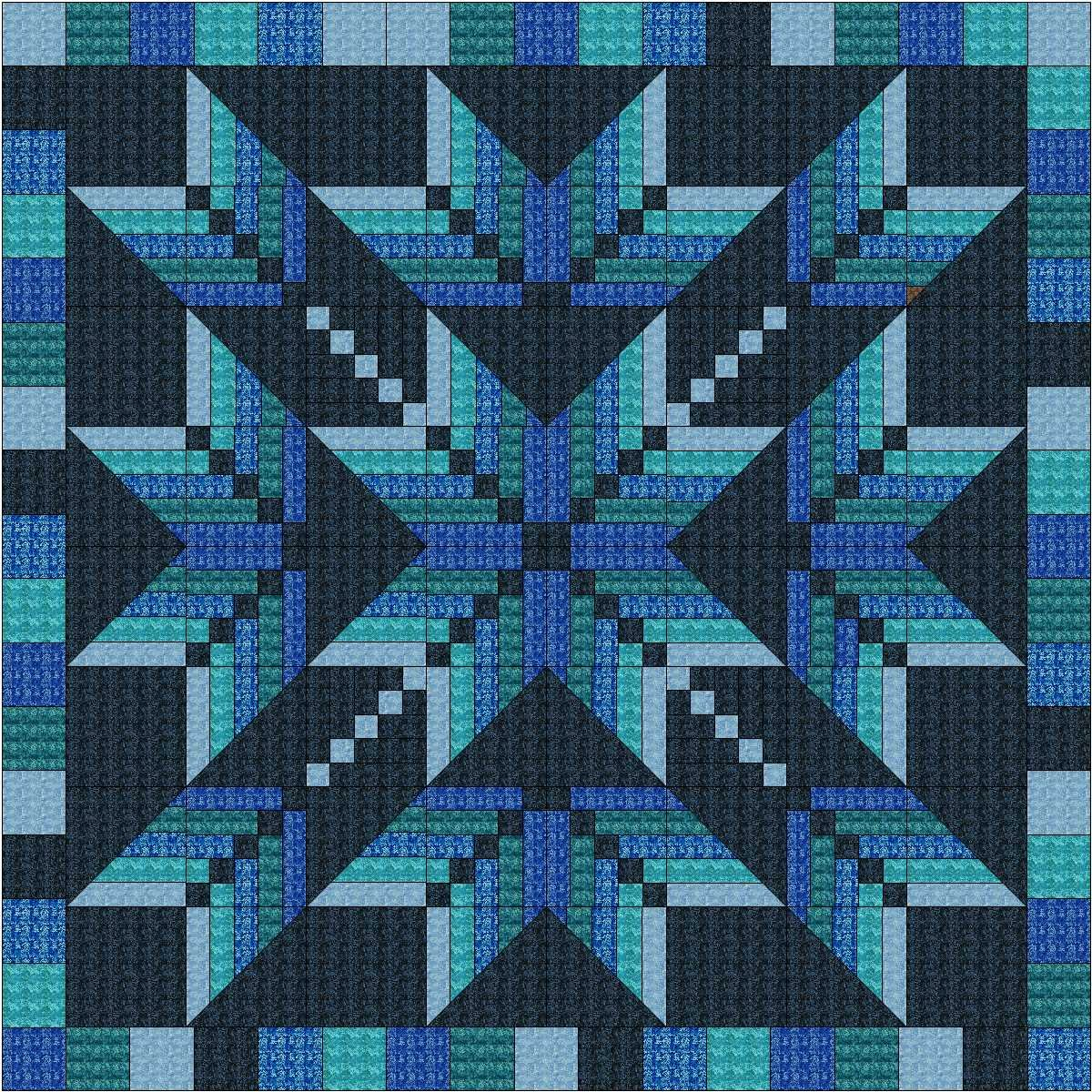 Easy Quilt Kit Exploding Star Blue 3D by Material Maven