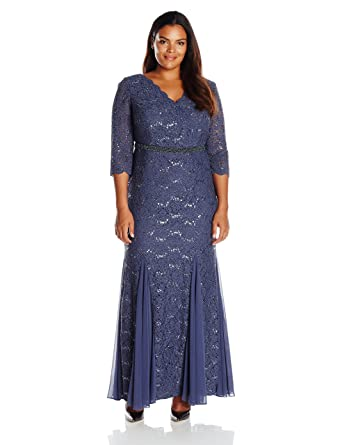 Alex Evenings Plus Size Womens Fit And Flare Long Lace Dress At