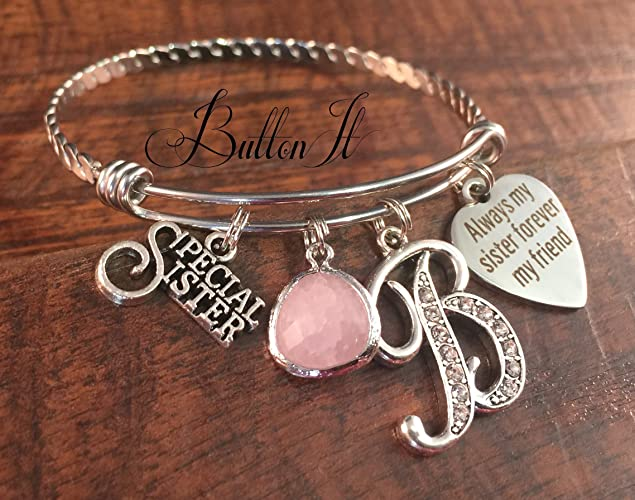 Maid Of Honor Gift SISTER Sister BANGLE Bracelet Charm Rehearsal Dinner Birthday Gifts For