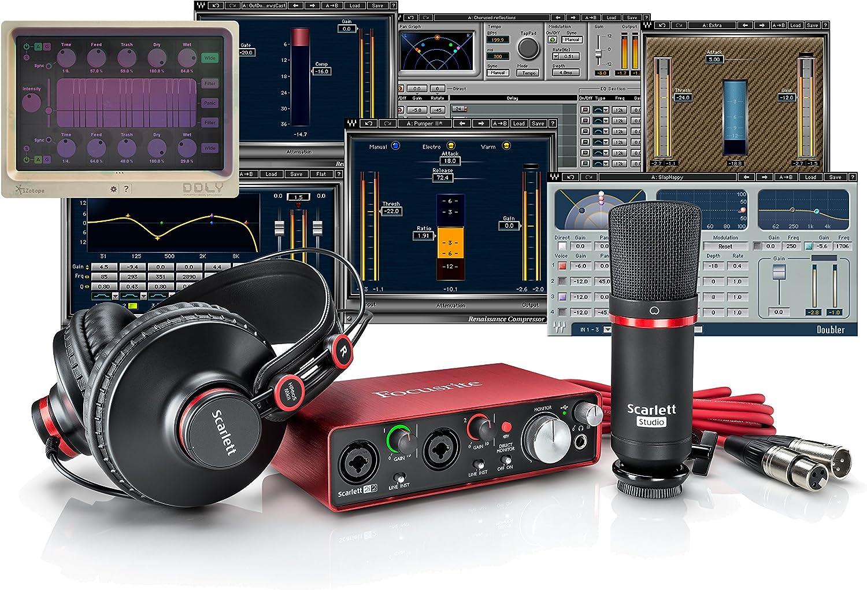 Focusrite Scarlett 2i2 Studio Bundle + Waves Musicians 2 + iZotope DDLY Dynamic Delay: Amazon.es: Instrumentos musicales