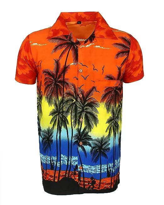 finest selection fd086 625dd SAITARK - Camicia Hawaiana da Uomo, Motivo Estivo con di Palme