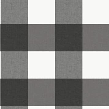 Amazon Com Nuwallpaper Nus3624 Charcoal Farmhouse Plaid Peel Stick Peel And Stick Wallpaper Black Home Improvement