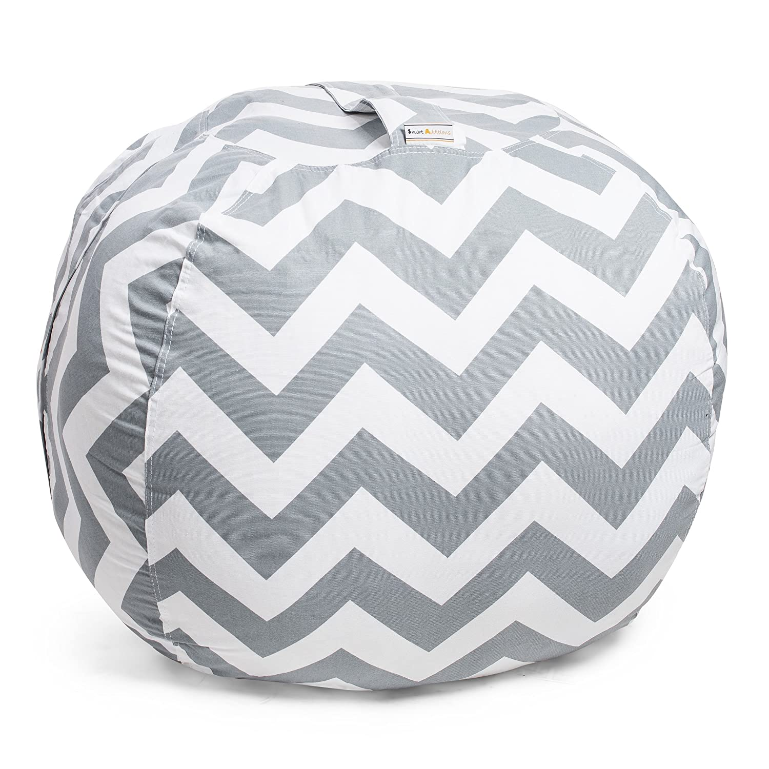 Smart Additions Bean Bag Chair - Bean Bag for Stuffed Animal Storage, Stuff and Sit Bean Bag Cover for Kids, Toy Storage Bean Bag Chair, Bright Color Zigzag Bean Bag Toy Organizer, Gray - Extra Large