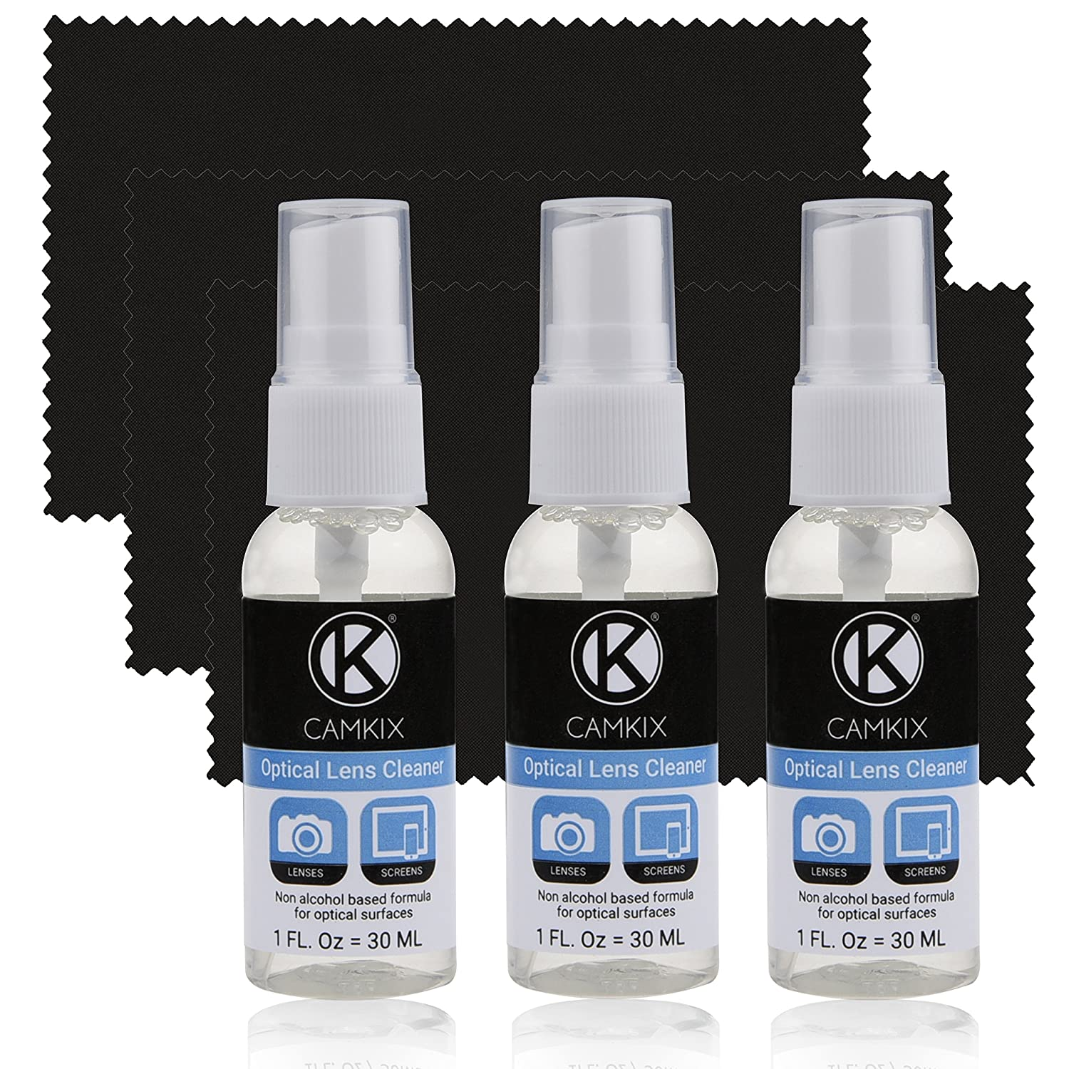 Camkix Lens and Screen Cleaning Kit - cleaning spray, microfiber cloth - Perfect to clean the lens of your DSLR or GoPro camera - Also great for your smartphone, tablet, notebook, etc. (3 PACK (3x 1 oz / 30 ml)) D0036-LCS-3PC